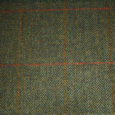 Green Herringbone with Orange & Red Check Tweed