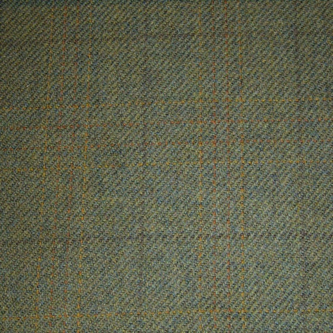 Moss Green with Brown & Orange Quad Check Tweed