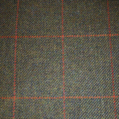Green & Brown with Orange Check Tweed