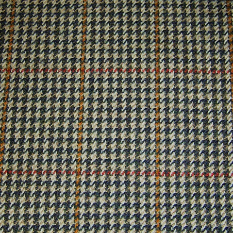 Beige, Brown, Orange & Red Dogtooth Check Tweed