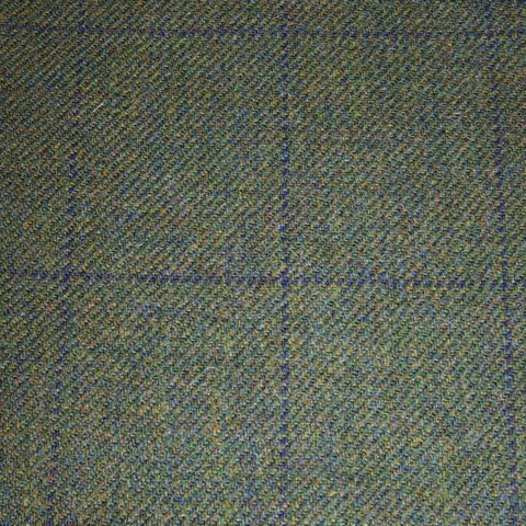 Green with Navy Blue Check Tweed