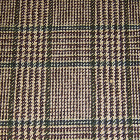 Beige with Brown & Green Check Tweed