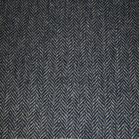 Grey & Navy Herringbone Tweed