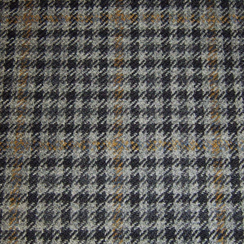 Grey & Black Dogtooth with Orange Check Tweed