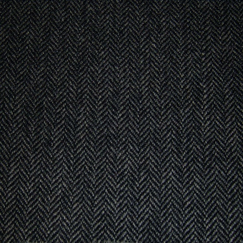 Dark Grey & Black Herringbone Tweed