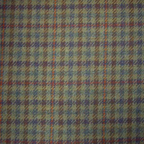 Green with Red, Orange, Green & Brown Check Tweed
