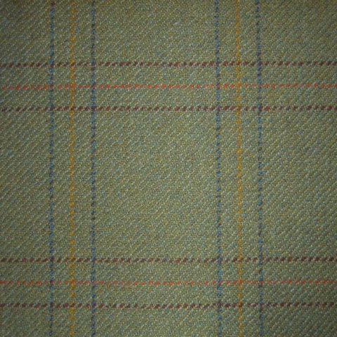 Green with Wine, Orange & Blue Check Tweed