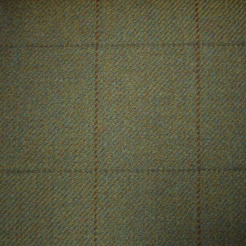 Moss Green with Brown & Green Check Tweed