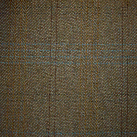 Brown Herringbone with Orange, Blue & Dark Brown Check Tweed