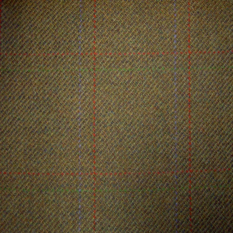 Brown & Green with Orange, Purple & Green Check Tweed