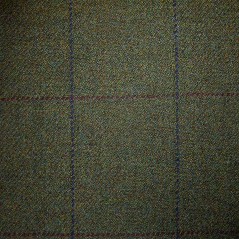 Moss Green with Red & Blue Check Tweed
