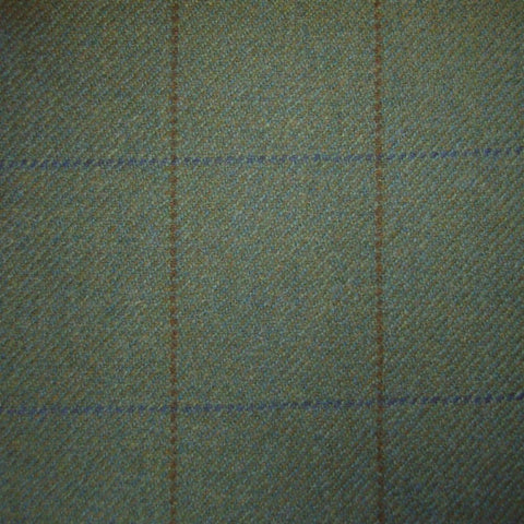 Green with Brown & Blue Check Tweed