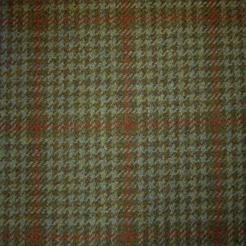Green, Brown & Orange Dogtooth Check Tweed