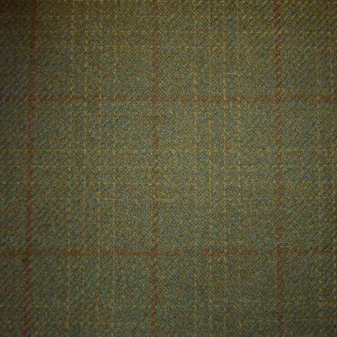 Moss Green with Orange & Beige Check Tweed
