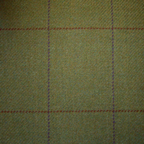 Sand & Green with Red & Purple Check Tweed