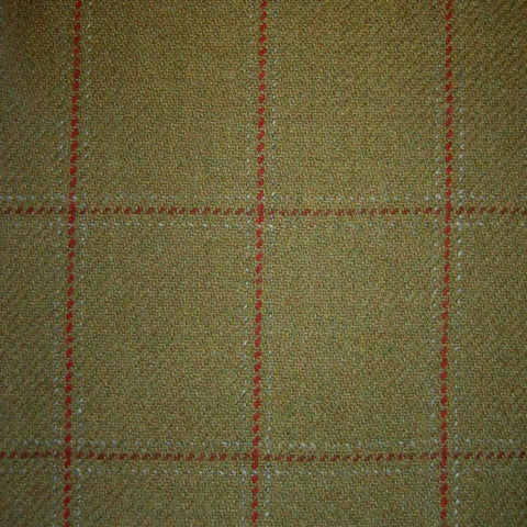 Sand & Green with Red, Wine & White Check Tweed