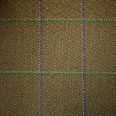 Sand & Brown with Purple, Green & White Check Tweed