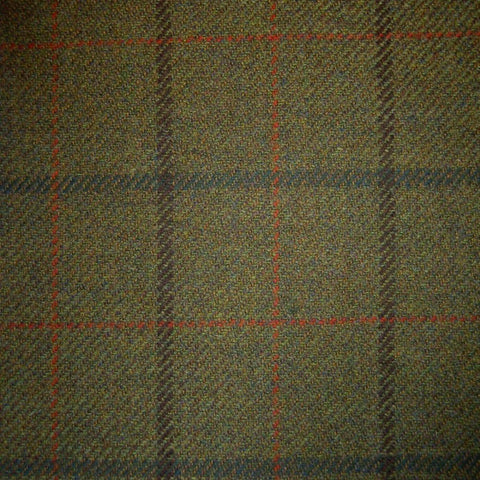 Moss Green with Brown, Green, Red & Orange Check Tweed