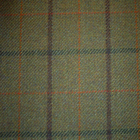 Green & Brown with Brown, Green, Orange & Red Check Tweed