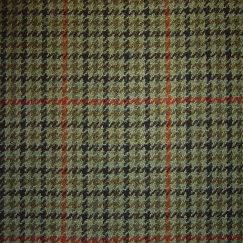Green with Black, Orange & Red Dogtooth Check Tweed