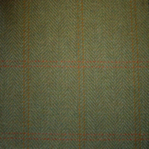 Sand & Green Herringbone with Orange & Red Twin Check Tweed
