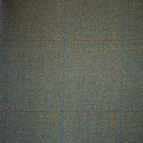 Green with Orange, Red & Blue Check Tweed