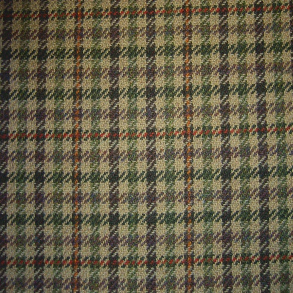 Beige with Green, Navy, Orange & Red Dogtooth Check Tweed