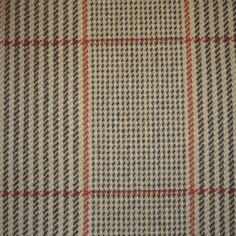Sand & Black with Red & Orange & Red Check Tweed