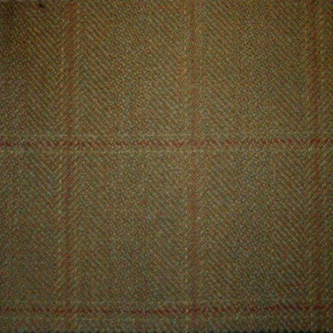 Moss Green with Red & Orange Check Tweed