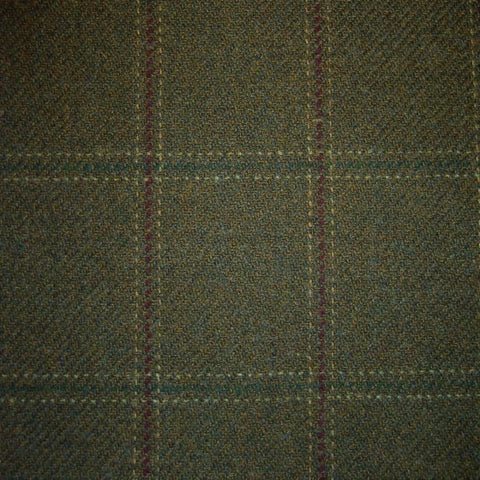 Green & Brown with Wine, Green & White Check Tweed