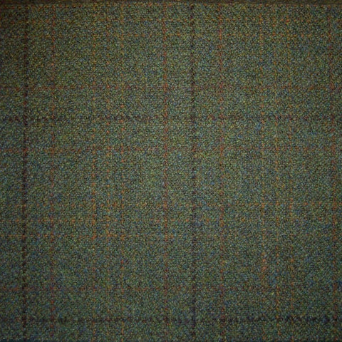 Green Herringbone with Orange & Dark Brown Check Tweed