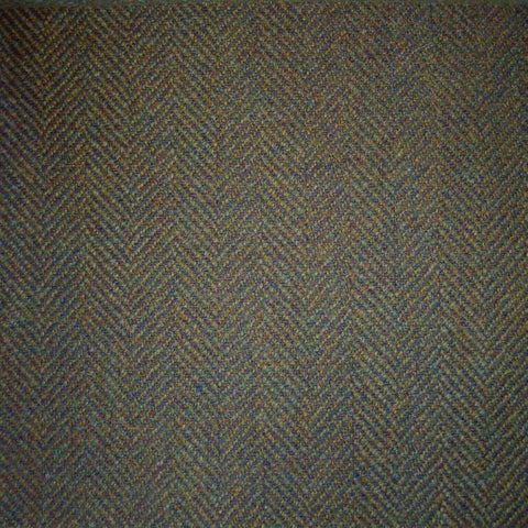 Green & Brown Herringbone Tweed