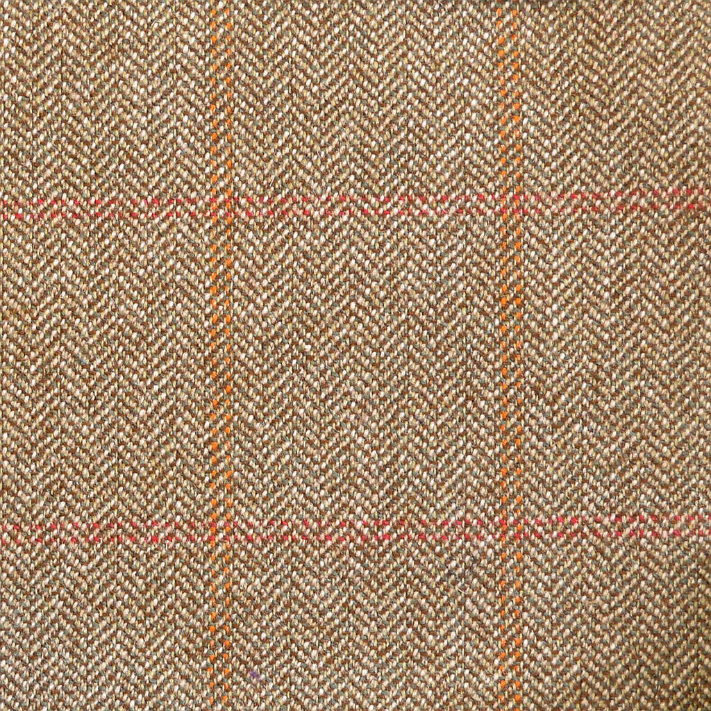 Beige & Brown Herringbone with Red & Orange Twin Check Tweed