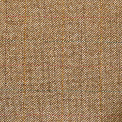 Light Brown with Red, Green & Orange Check Tweed