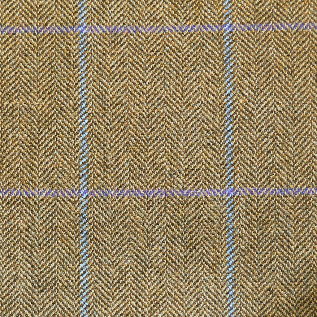 Sand Herringbone with Blue & Purple Check Tweed