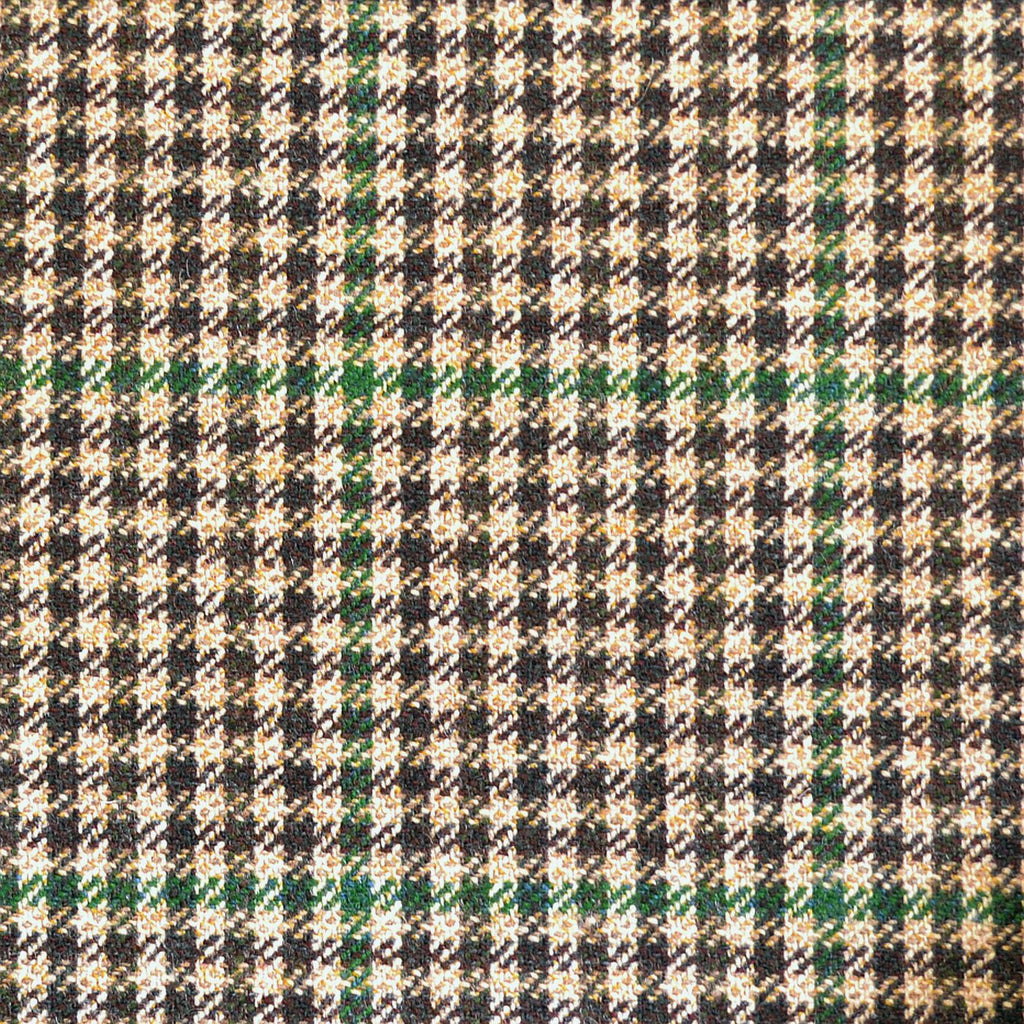 Beige, Dark Brown & Green Dogtooth Check Tweed