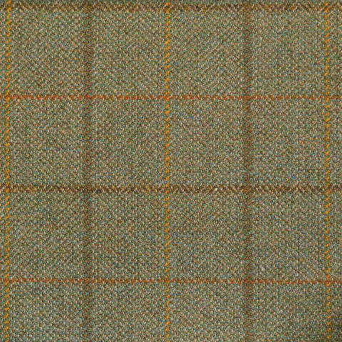 Light Green Herringbone with Orange, Brown & Yellow Check Tweed