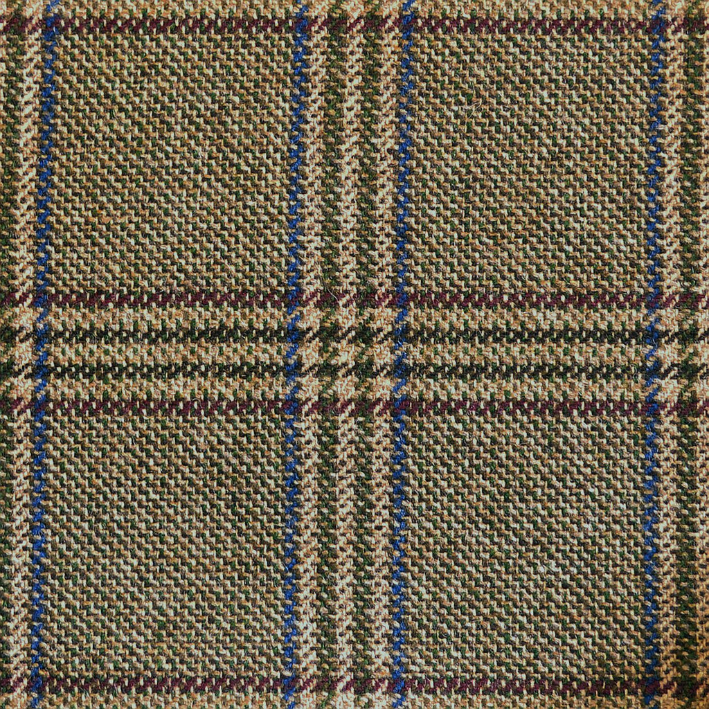 Green & Beige with Wine & Blue Check Tweed