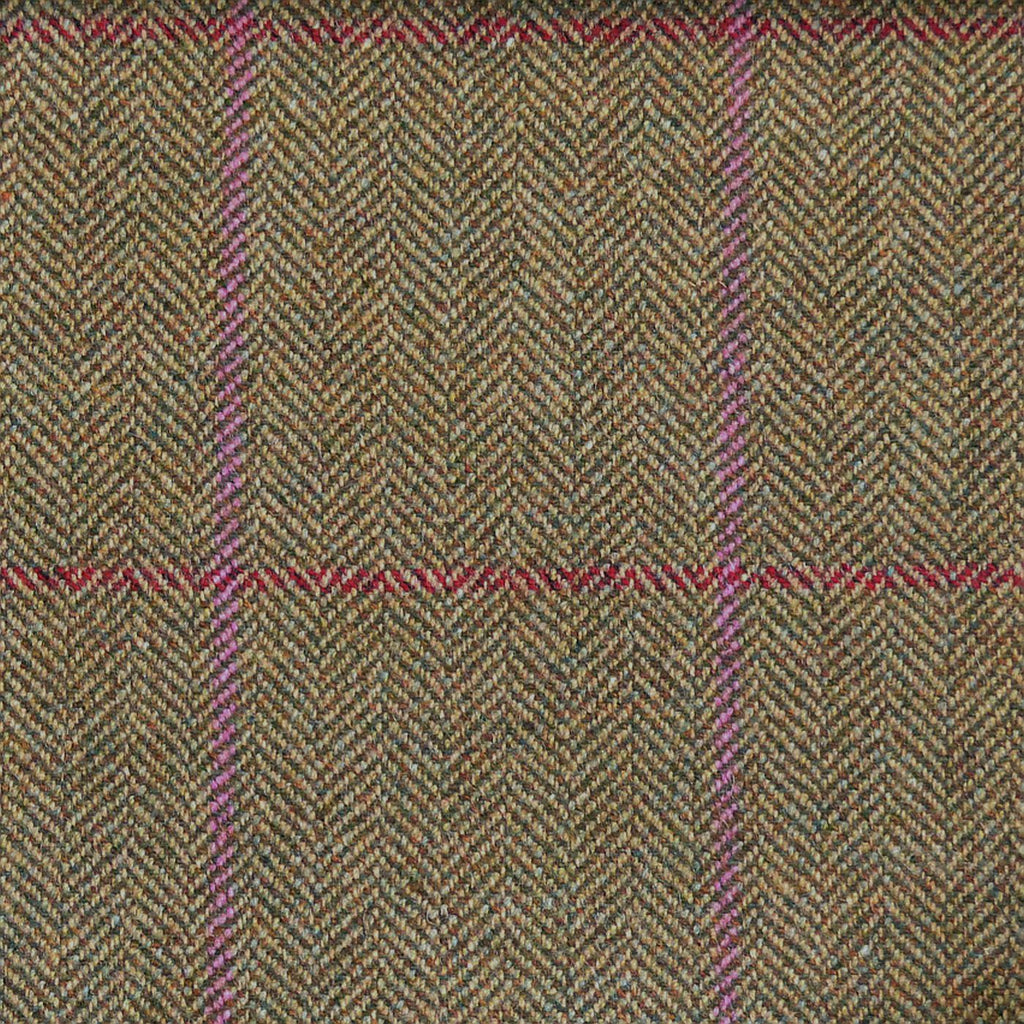 Brown & Green with Red & Pink Check Tweed