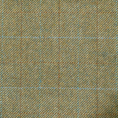 Light Green with Blue & Brown Check Tweed