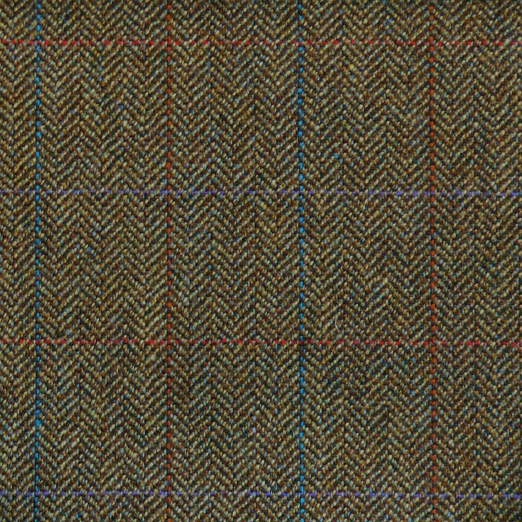 Green & Brown Herringbone with Blue, Purple, Orange & Red Check Tweed