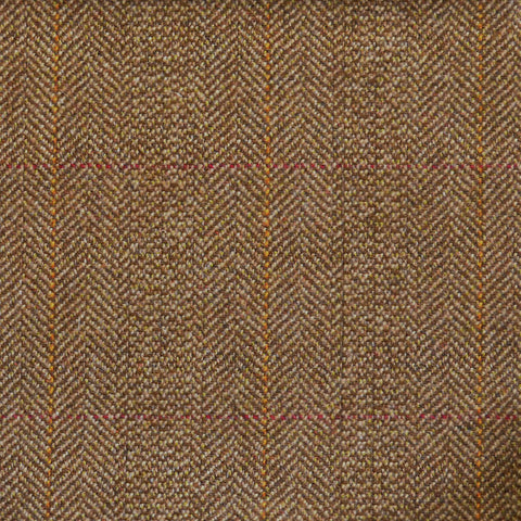 Brown Herringbone with Red & Orange Check Tweed
