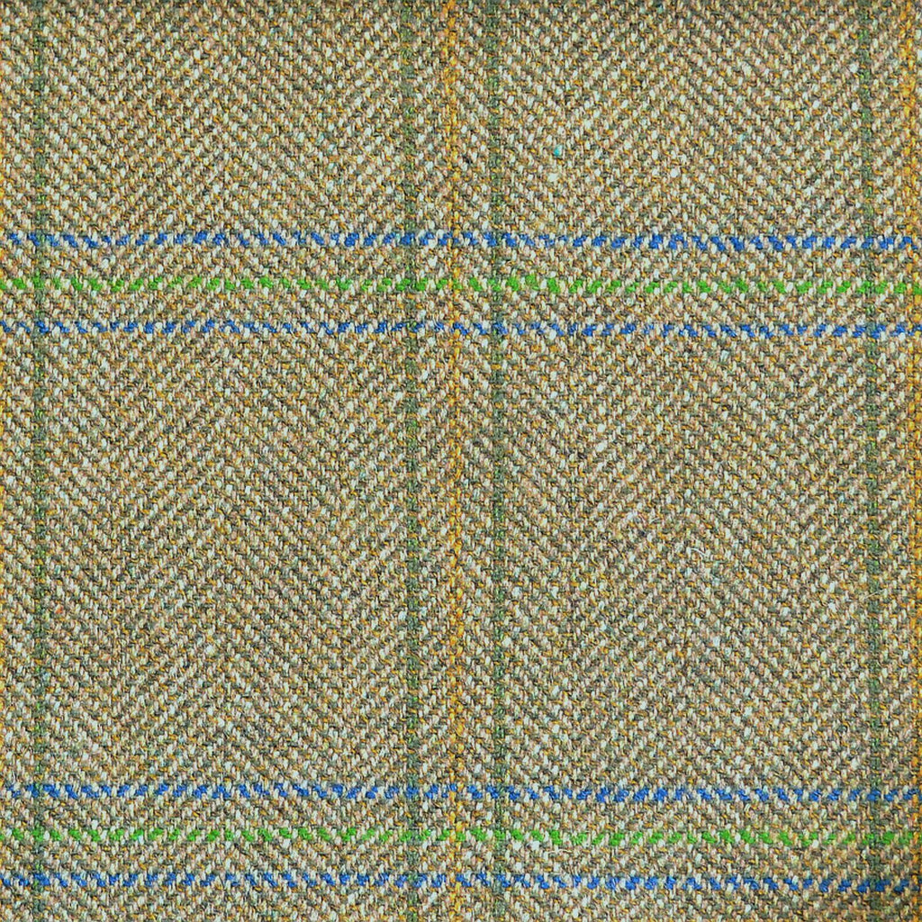 Green & Brown Herringbone with Blue, Green & Orange Check Tweed