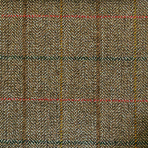 Brown Herringbone with Red, Green & Orange Check Tweed