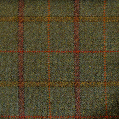Moss Green with Brown & Orange Check Tweed