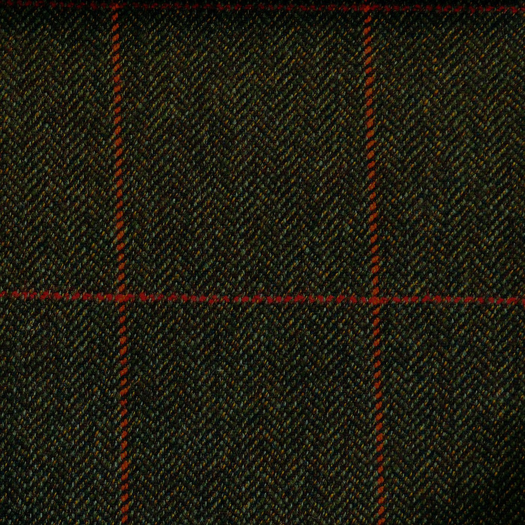Green & Brown Herringbone with Red & Orange Check Tweed