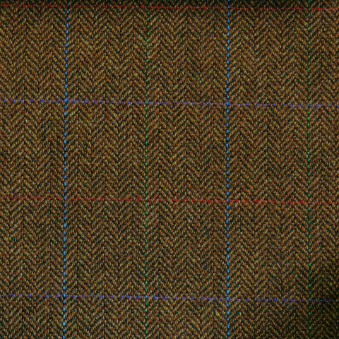 Brown Herringbone with Blue, Green, Red & Purple Check Tweed