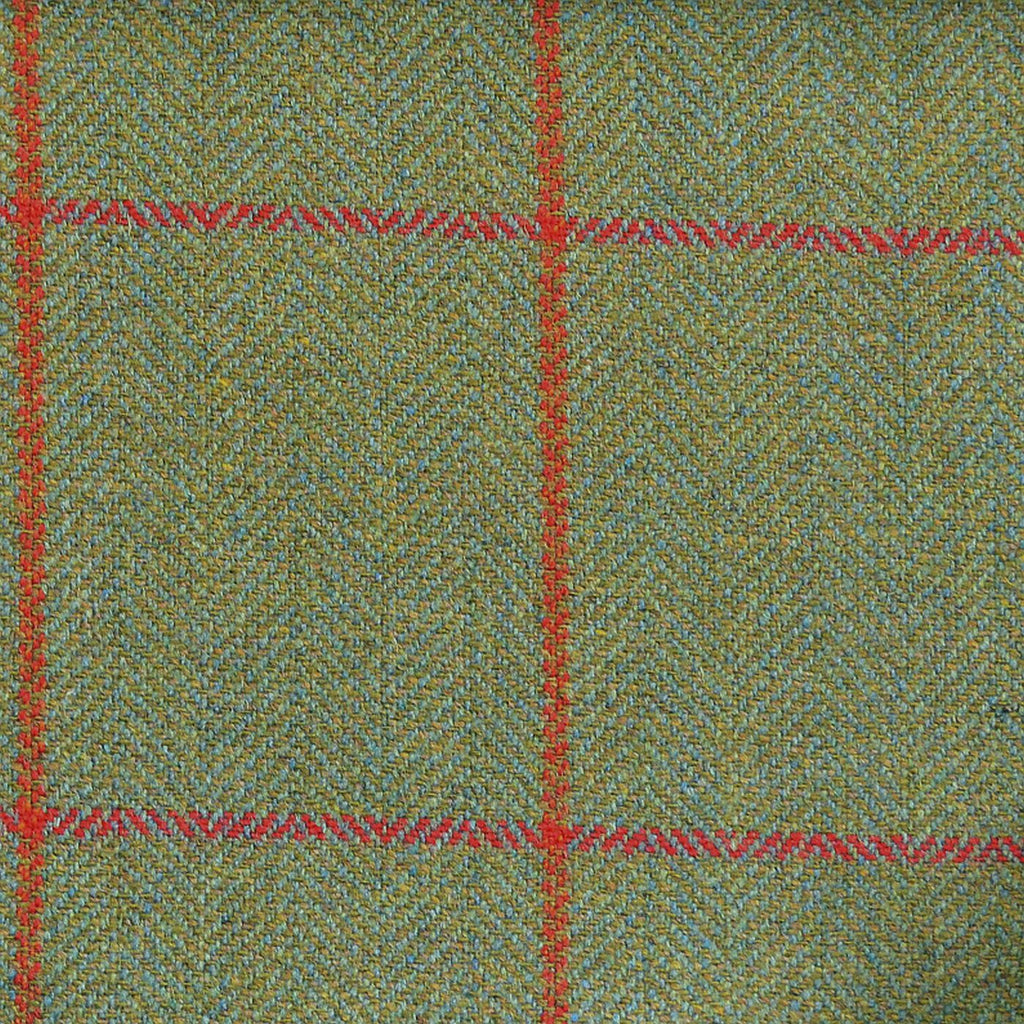 Light Green Herringbone with Red & Orange Check Tweed