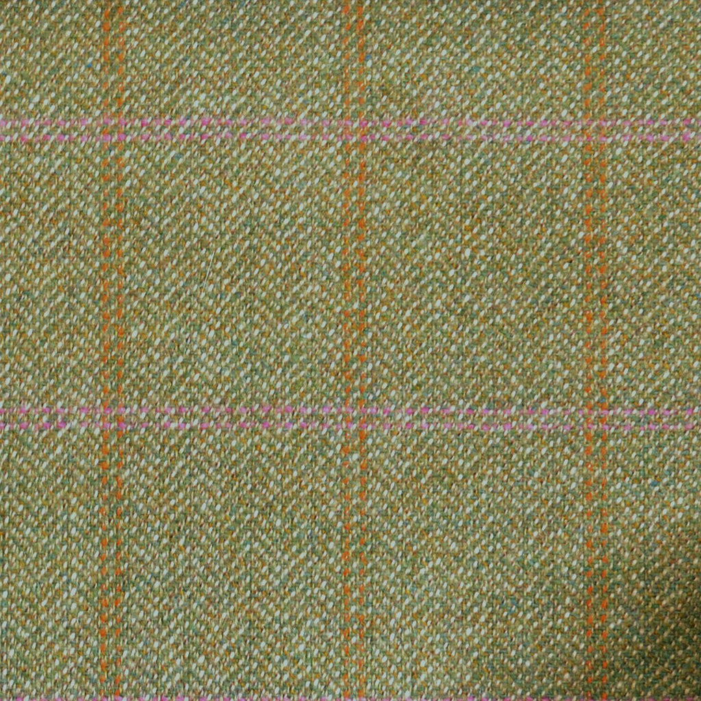 Light Green Herringbone with Pink & Orange Check Tweed