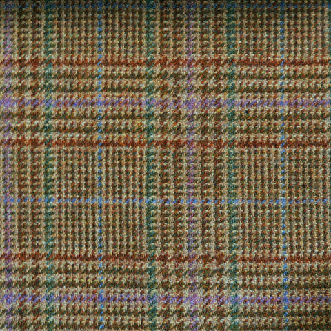 Beige & Brown with Blue, Green & Purple Check Tweed